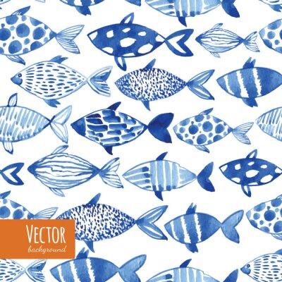Poster acquerello Luce pesci blu su sfondo nero.