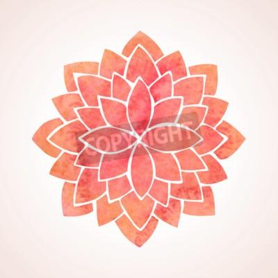 Poster Acquerello modello di fiore di loto rosso su sfondo bianco