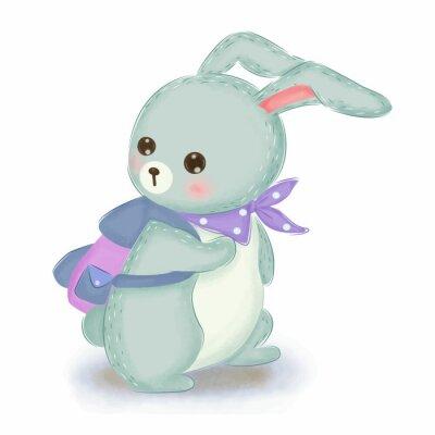 Poster adorable blue bunny illustration for nursery decoration