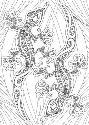 Poster Adulti libro da colorare - illustrazione. Tattoo set: Lizrds. Illustrazione vettoriale.