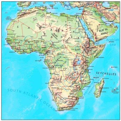 Cartina Fisica Muta Dell Africa.Poster Africa Continente Mappa Fisica