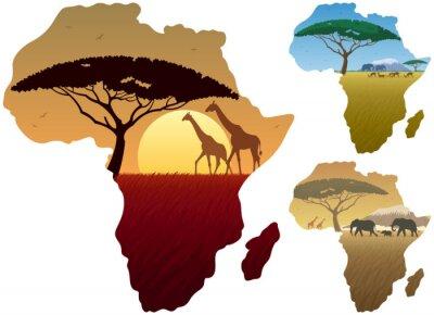 Poster Africa Mappa Paesaggi / Tre paesaggi africani nella cartina dell'Africa.