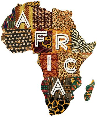 Poster Africa patchwork mappa vettoriale