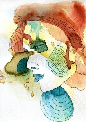 Poster Akwarelowy ritratto kobiety