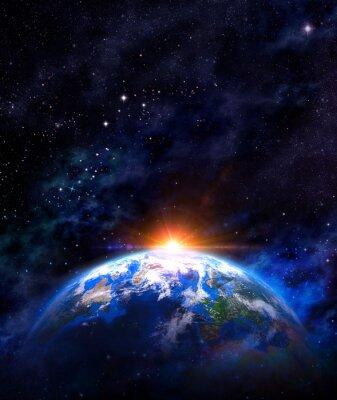 Poster alba sopra la terra nello spazio esterno