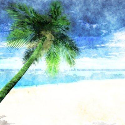Poster albero Acquerello palme sulla spiaggia