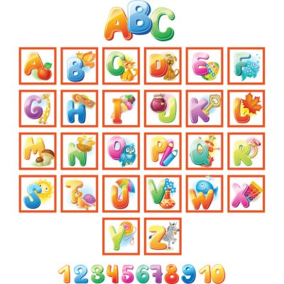 Poster Alfabeto colorato per i bambini con le immagini