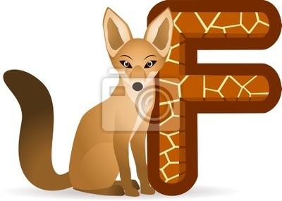 Alfabeto f con fox cartoni animati manifesti da muro u poster