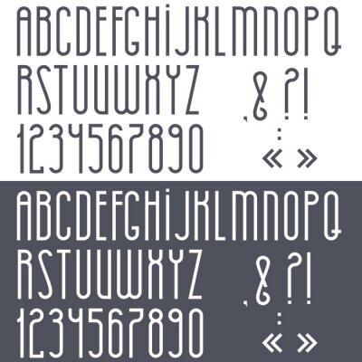 Poster Alfabeto in bianco e nero, numeri e segni di punteggiatura