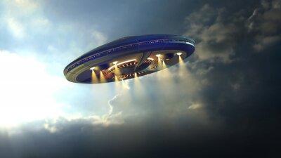 Poster Alien disco UFO volare attraverso le nuvole sopra la Terra