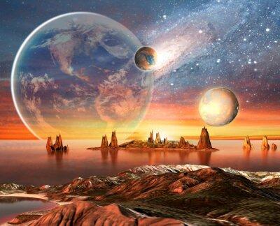 Poster Alien Planet Con Terra Luna E Monti