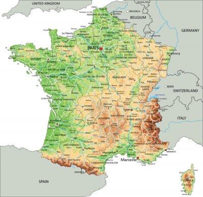 Cartina Francia Sud Dettagliata.Alta Dettagliata Mappa Fisica Francia Con Letichettatura Manifesti Da Muro Poster Calais Lyon Monaco Myloview It