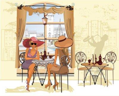 Poster Amici nel caffè bere caffè.