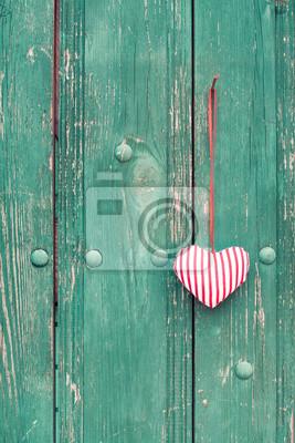 Amore Cuore Su Sfondo Di Legno Vintage Manifesti Da Muro Poster