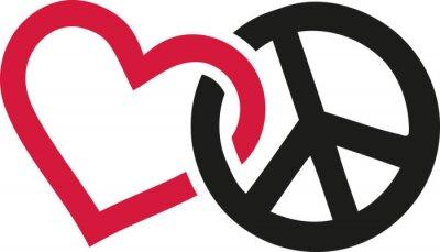 Poster Amore e Pace segni intrecciati