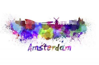Poster Amsterdam skyline in acquerello