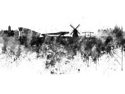 Poster Amsterdam skyline in acquerello nero