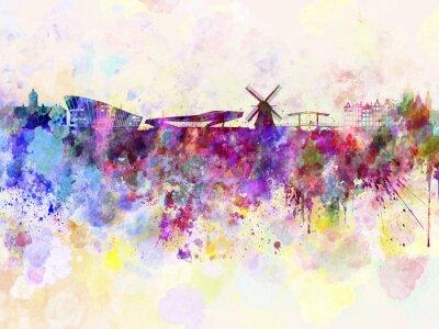 Poster Amsterdam skyline in sfondo acquerello