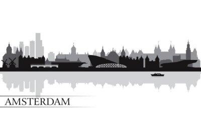 Poster Amsterdam skyline silhouette sfondo
