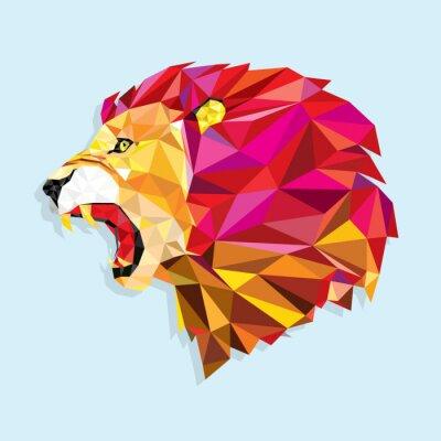 Poster Angry leone con reticolo geometrico vettore