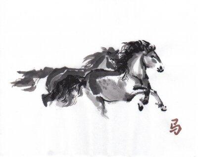 Poster Anno di cavallo. Sumi-e arte.