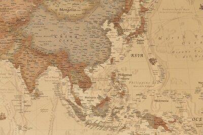 Poster Antica mappa geografica dell'Asia con i nomi dei paesi