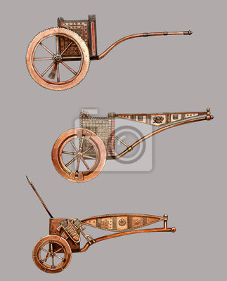Poster Antique chariot. Egyptian bronze chariot. Acylic illustration.