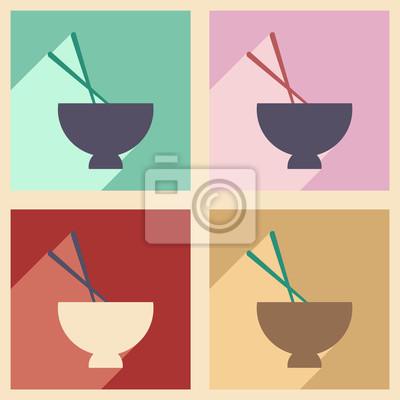Poster Appartamento con il concetto di ombra e di applicazioni mobili zuppa di miso