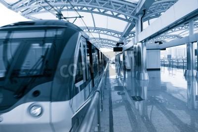 Poster Architettura moderna stazione di metropolitana leggera in shanghai Cina.