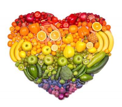 Poster Arcobaleno cuore di frutta e verdura