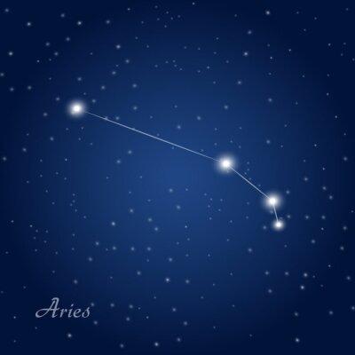 Poster Ariete costellazione zodiacale segno di cielo notturno stellato
