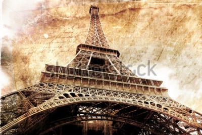 Poster Arte digitale astratta della Torre Eiffel a Parigi, oro. Vecchia carta Cartolina, alta risoluzione, stampabile su tela