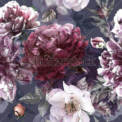 Poster arte vintage matita floreale colorato modello senza saldatura con rose bianche e peonie viola su sfondo. Effetto Double Exposure e Bokeh