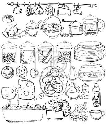 Articoli da cucina collezione. disegnati a mano manifesti da muro ...