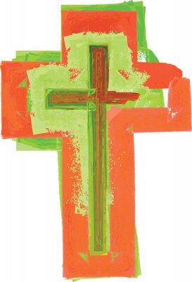 Poster Artistico astratto stile acquerello colorato croce verde e rosso moderno