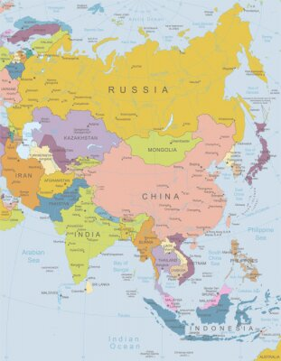 Poster Asia-map.Layers molto dettagliati utilizzati.