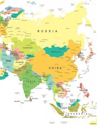 Poster Asia - mappa - illustrazione. Asia map - altamente dettagliata illustrazione vettoriale.