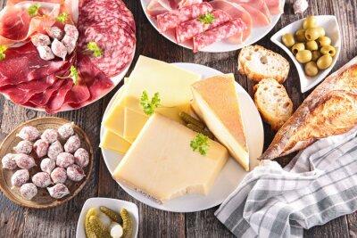 Poster assortimento di formaggi, carne