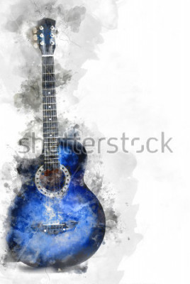 Poster Astratta bella chitarra in primo piano, sfondo di pittura ad acquerello e illustrazione digitale pennello per l'arte.
