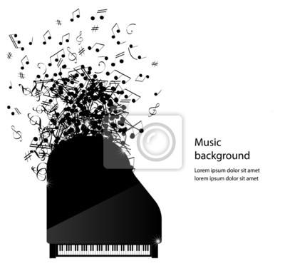 Astratto Sfondo Musica Con Pianoforte E Note Vettore Illustrat