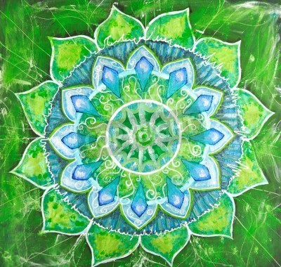 Poster astratto verde immagine dipinta con motivo a cerchio, mandala di chakra anahata