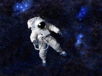 Poster Astronauta che fluttua nello spazio buio.