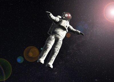 Poster astronauta che fluttua nello spazio con il sole