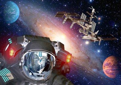 Poster Astronauta et extraterrestre sci fi ufo pianeti dello spazio astronave. Elementi di questa immagine fornita dalla NASA.