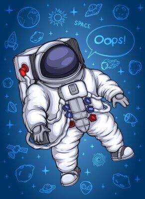Poster Astronauta nello spazio. Sullo sfondo di oggetti cosmici.