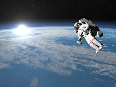 Poster Astronauta o cosmonauta battenti sulla terra - rendering 3D