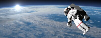 Poster Astronauta o cosmonauta volare sulla terra - rendering 3D