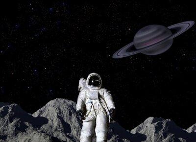 Poster Astronauta sulla superficie lunare