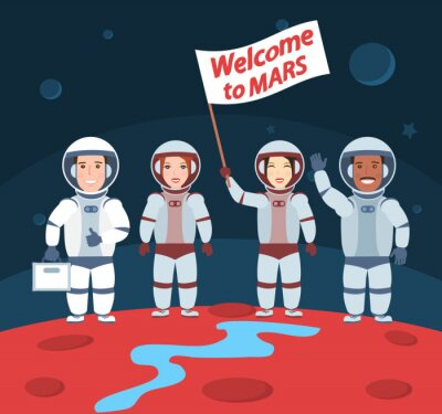Poster astronauti su Marte. benvenuto al gruppo mars.international con la bandierina