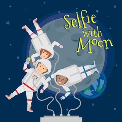 Poster astronauti uomini e donna nello spazio esterno che si selfie ritratto con la luna .selfie con il concetto di luna illustrazione